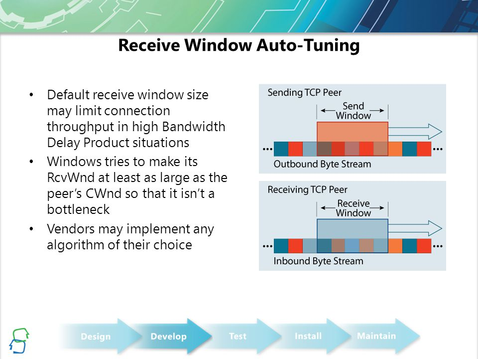 Receive Window Auto-Tuning Default receive window size may limit connection throughput in high Bandwidth Delay Product situations Windows tries to make its RcvWnd at least as large as the peer's CWnd so that it isn't a bottleneck Vendors may implement any algorithm of their choice
