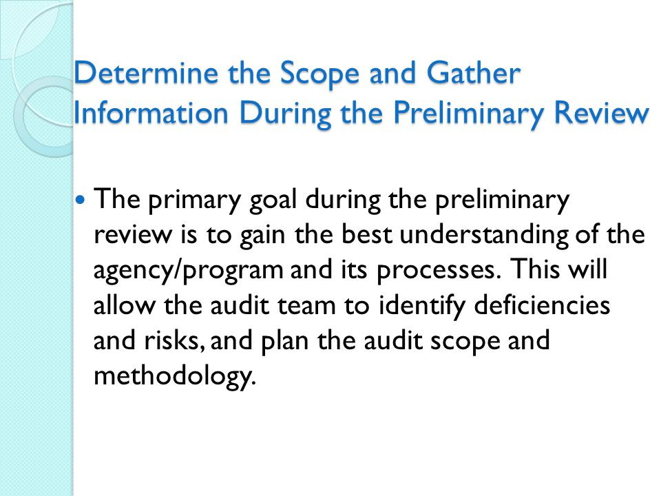 Determine the Scope and Gather Information During the Preliminary Review The primary goal during the preliminary review is to gain the best understanding of the agency/program and its processes.