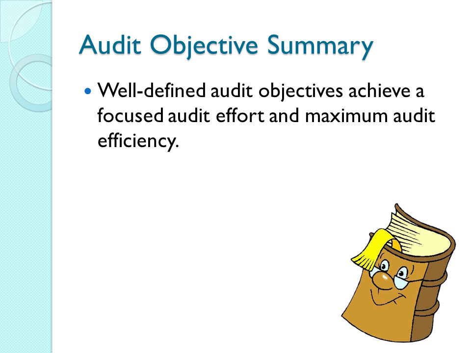 Audit Objective Summary Well-defined audit objectives achieve a focused audit effort and maximum audit efficiency.
