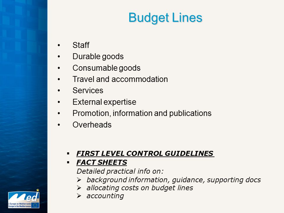 Budget Lines Staff Durable goods Consumable goods Travel and accommodation Services External expertise Promotion, information and publications Overheads  FIRST LEVEL CONTROL GUIDELINES  FACT SHEETS Detailed practical info on:  background information, guidance, supporting docs  allocating costs on budget lines  accounting
