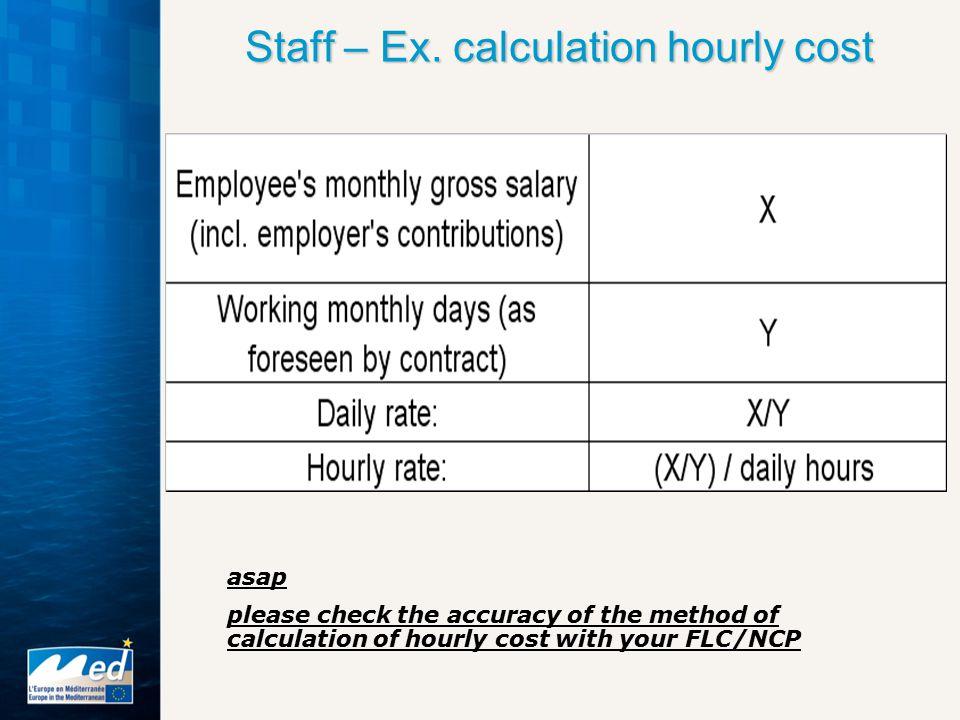 Staff – Ex. calculation hourly cost Staff – Ex.