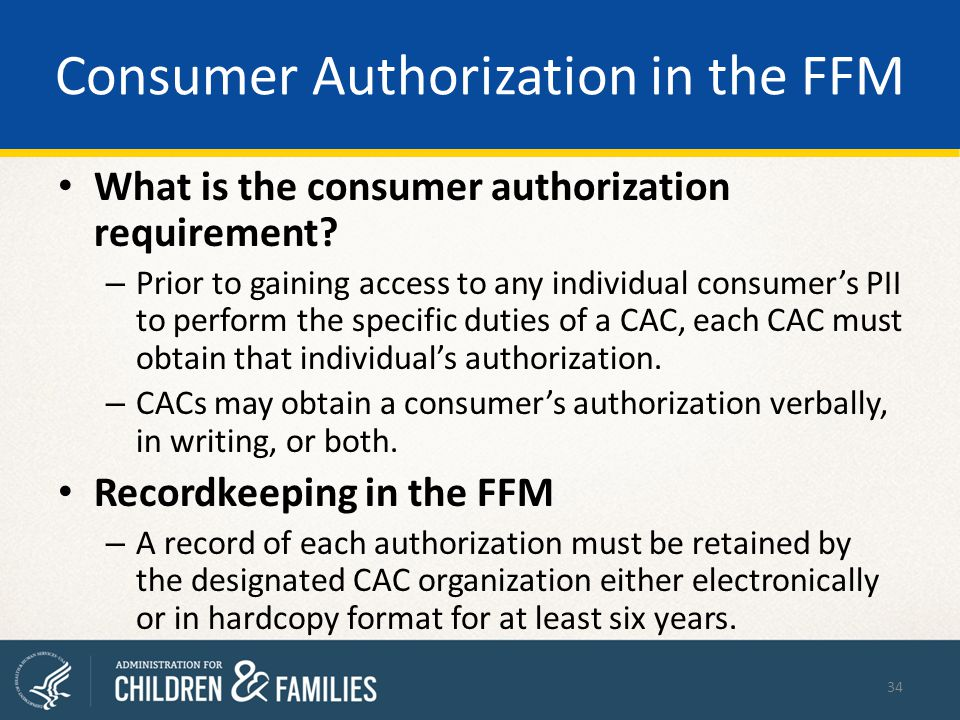 Consumer Authorization in the FFM What is the consumer authorization requirement.