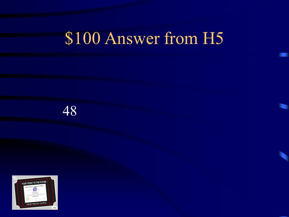 $100 Question from H5 The total number of credits needed To earn an Indianola High School Diploma.
