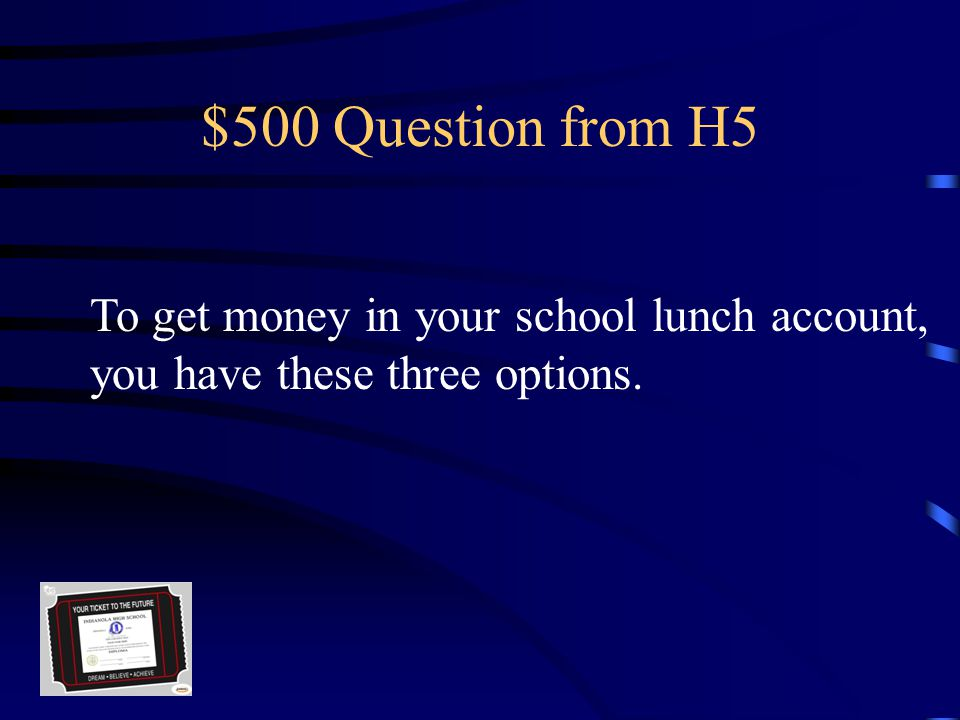 $400 Answer from H5 $5.00