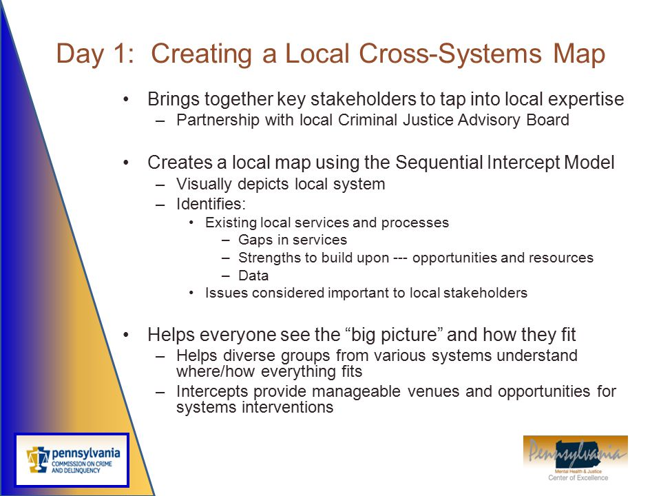 Day 1: Creating a Local Cross-Systems Map Brings together key stakeholders to tap into local expertise –Partnership with local Criminal Justice Adviso