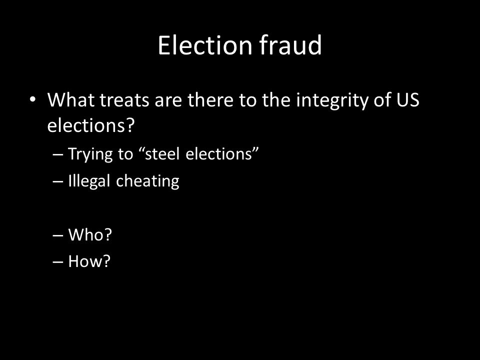 Election fraud What treats are there to the integrity of US elections.