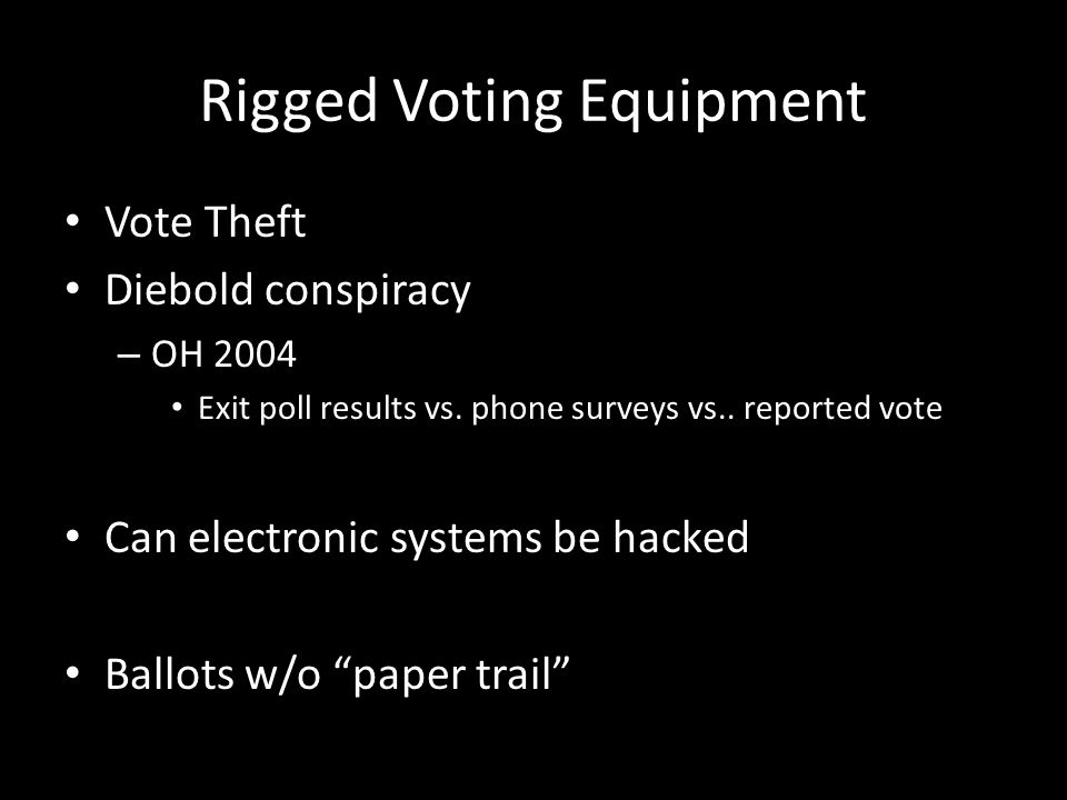 Rigged Voting Equipment Vote Theft Diebold conspiracy – OH 2004 Exit poll results vs.