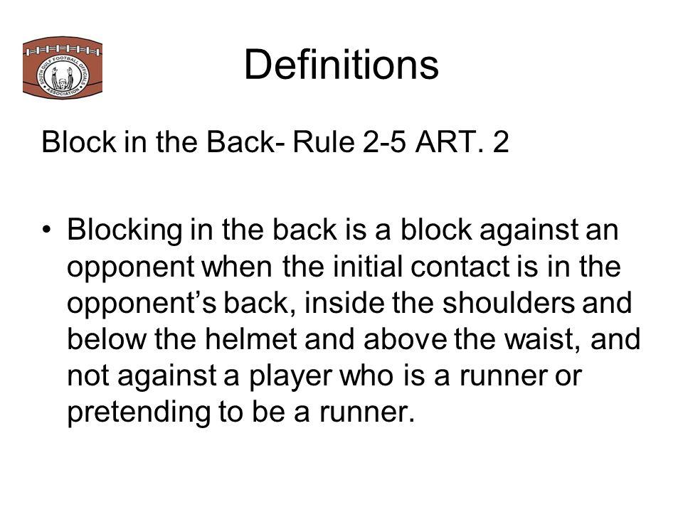 Definitions Block in the Back- Rule 2-5 ART.