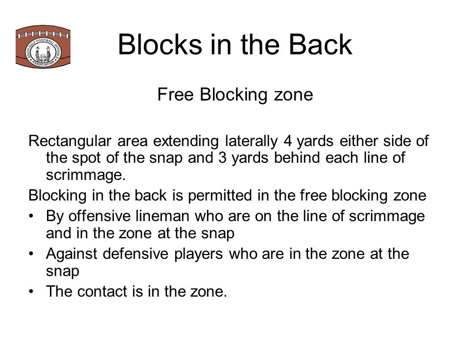 Blocks in the Back Free Blocking zone Rectangular area extending laterally 4 yards either side of the spot of the snap and 3 yards behind each line of scrimmage.