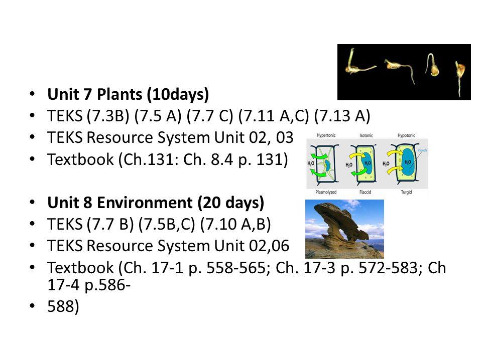 Unit 7 Plants (10days) TEKS (7.3B) (7.5 A) (7.7 C) (7.11 A,C) (7.13 A) TEKS Resource System Unit 02, 03 Textbook (Ch.131: Ch.
