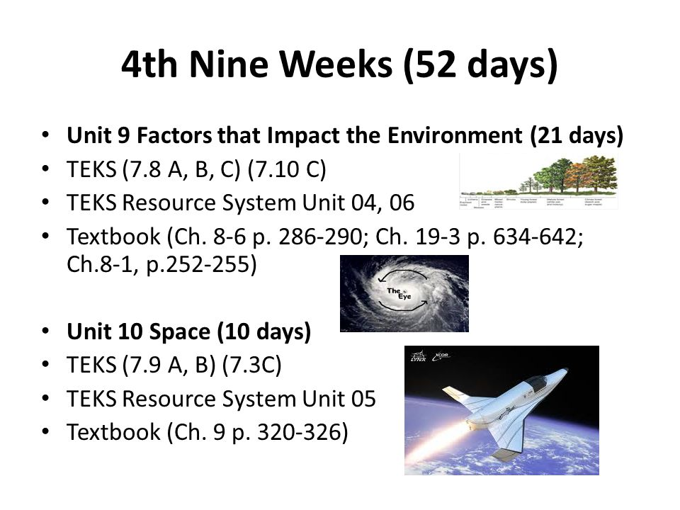 4th Nine Weeks (52 days) Unit 9 Factors that Impact the Environment (21 days) TEKS (7.8 A, B, C) (7.10 C) TEKS Resource System Unit 04, 06 Textbook (Ch.