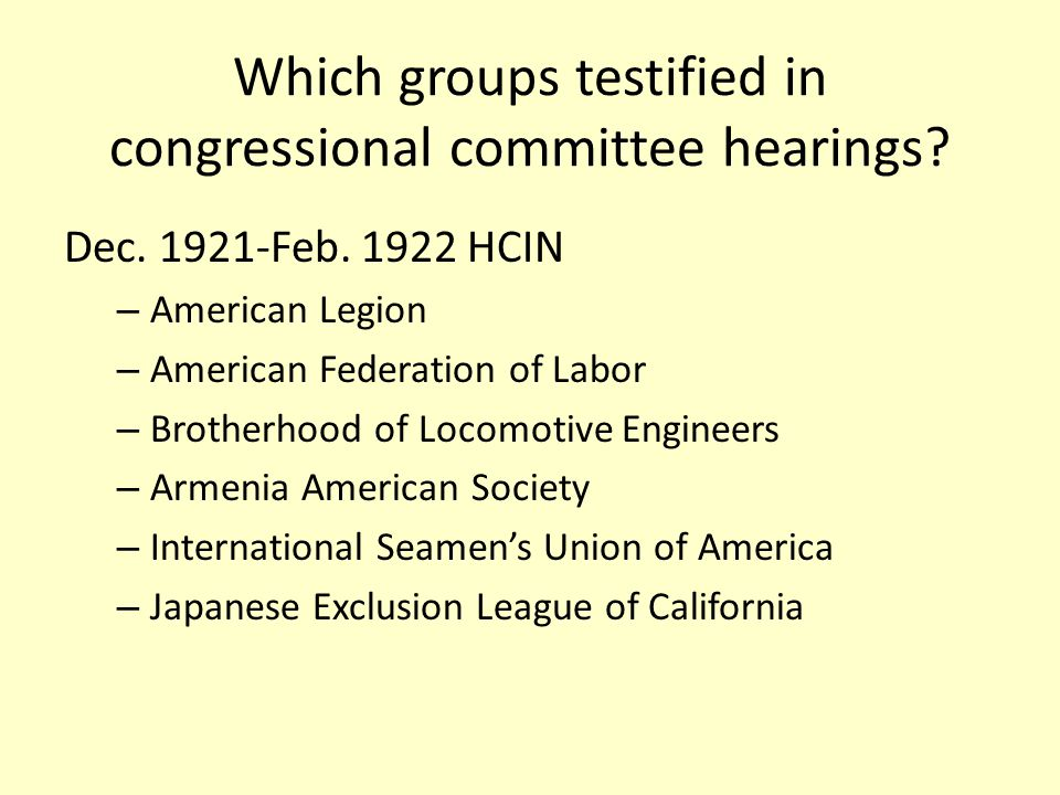 Which groups testified in congressional committee hearings.