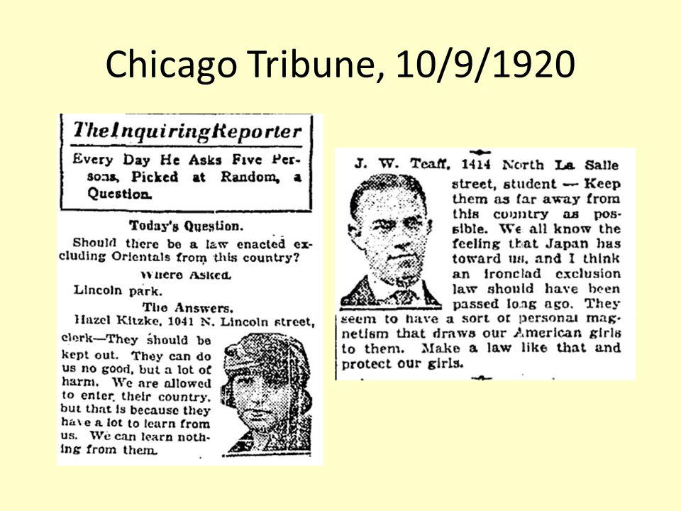 Chicago Tribune, 10/9/1920
