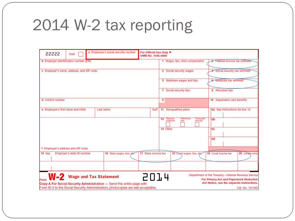 2014 W-2 tax reporting