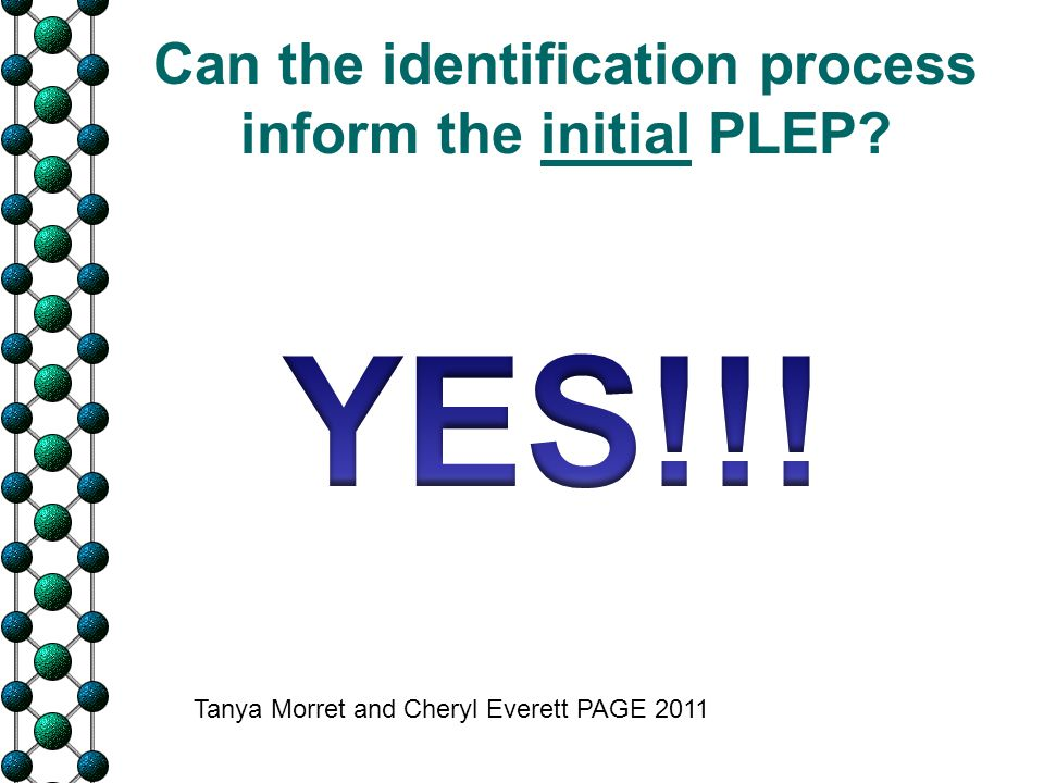 Can the identification process inform the initial PLEP? Tanya Morret and Cheryl Everett PAGE 2011