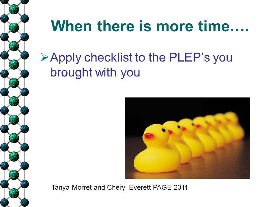 When there is more time….  Apply checklist to the PLEP's you brought with you Tanya Morret and Cheryl Everett PAGE 2011
