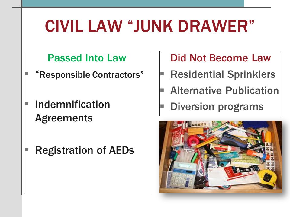 CIVIL LAW JUNK DRAWER Passed Into Law  Responsible Contractors  Indemnification Agreements  Registration of AEDs Did Not Become Law   Residential Sprinklers   Alternative Publication   Diversion programs