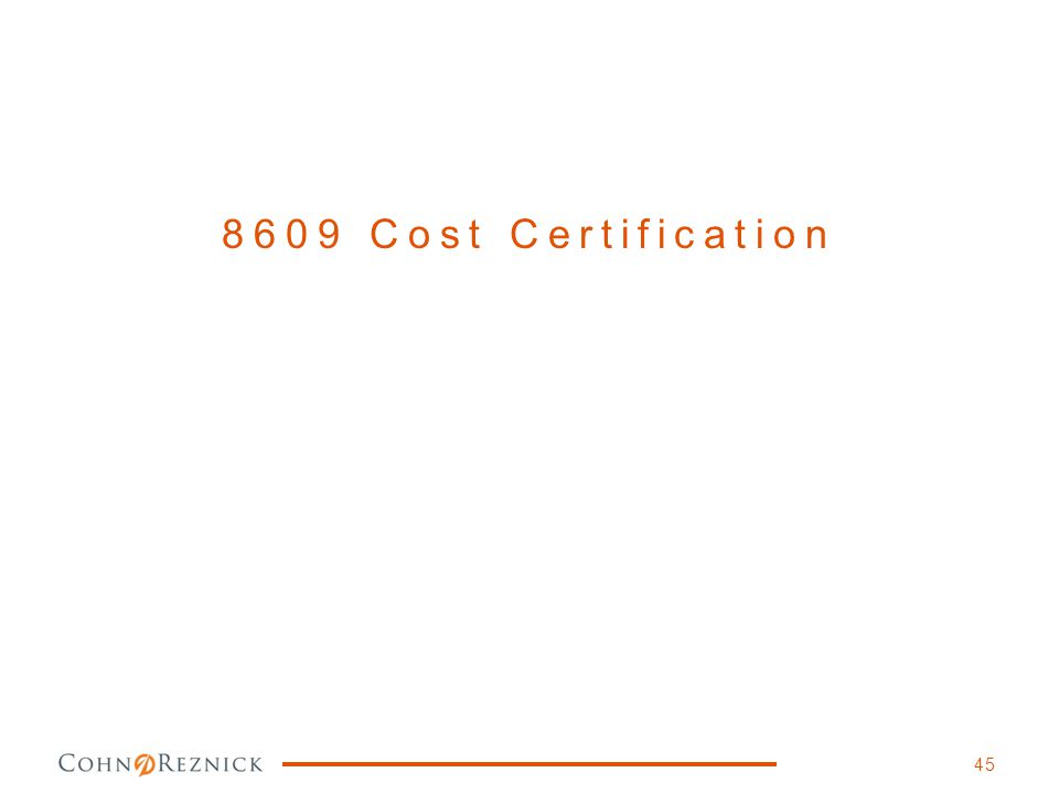 8609 Cost Certification 45