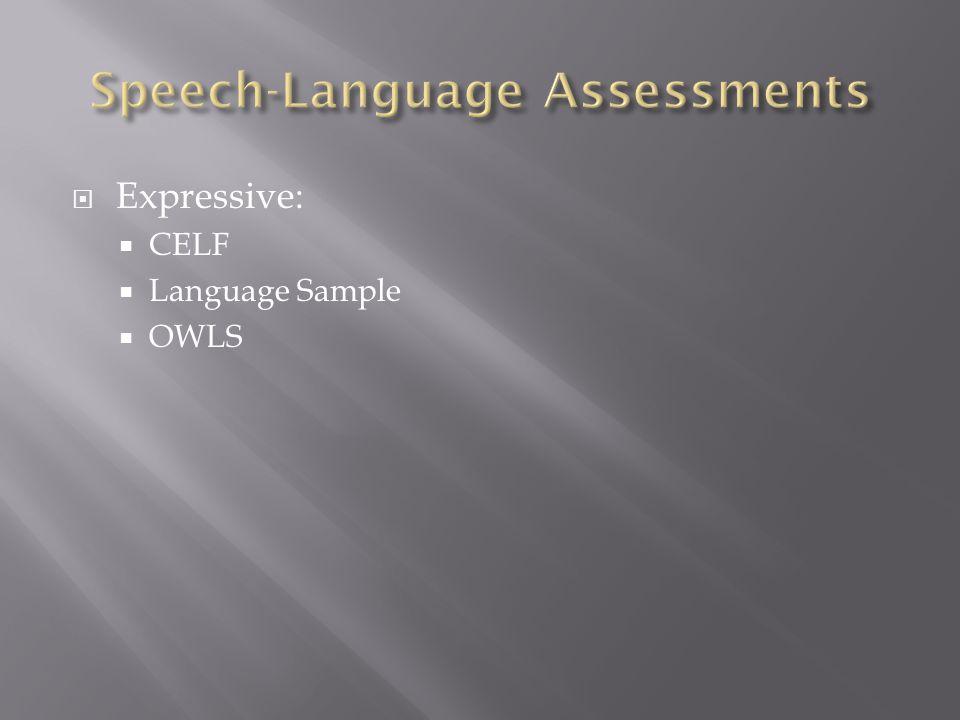  Expressive:  CELF  Language Sample  OWLS