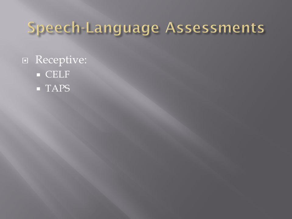  Receptive:  CELF  TAPS