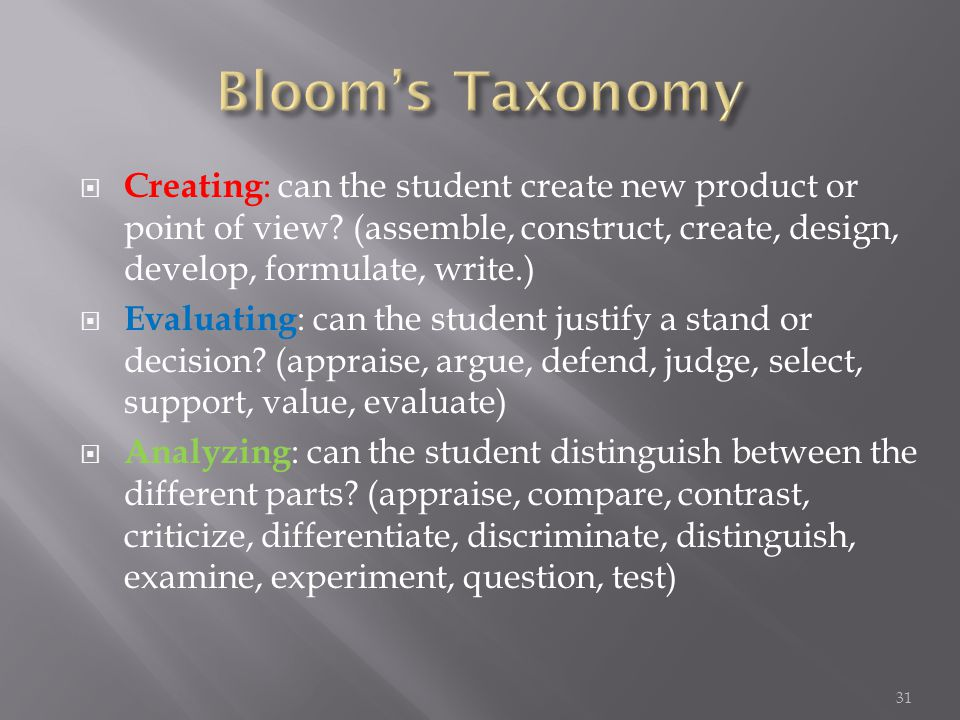  Creating : can the student create new product or point of view.