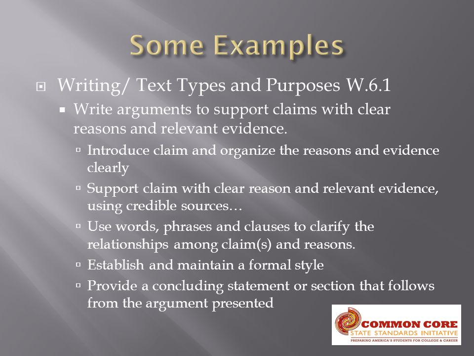  Writing/ Text Types and Purposes W.6.1  Write arguments to support claims with clear reasons and relevant evidence.