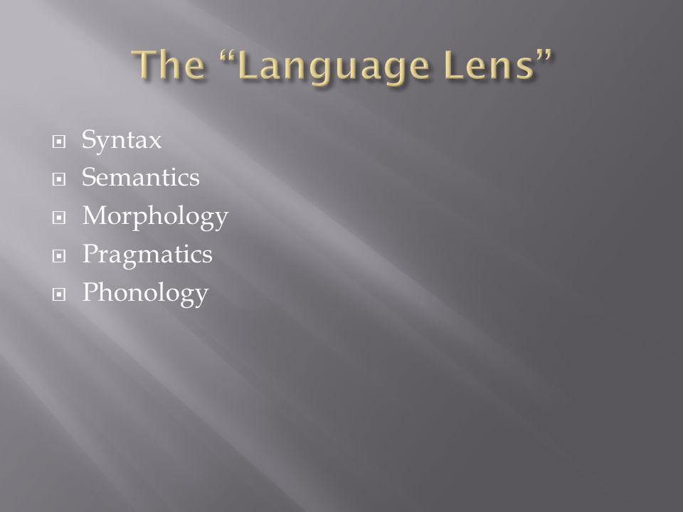  Syntax  Semantics  Morphology  Pragmatics  Phonology