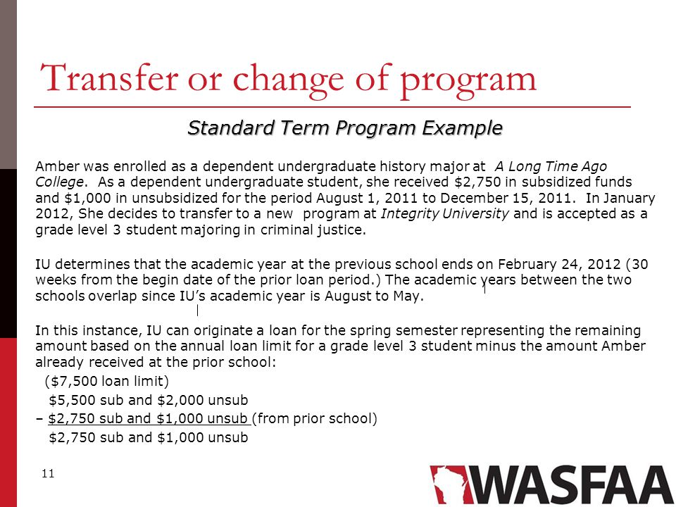 11 Transfer or change of program Standard Term Program Example Amber was enrolled as a dependent undergraduate history major at A Long Time Ago College.