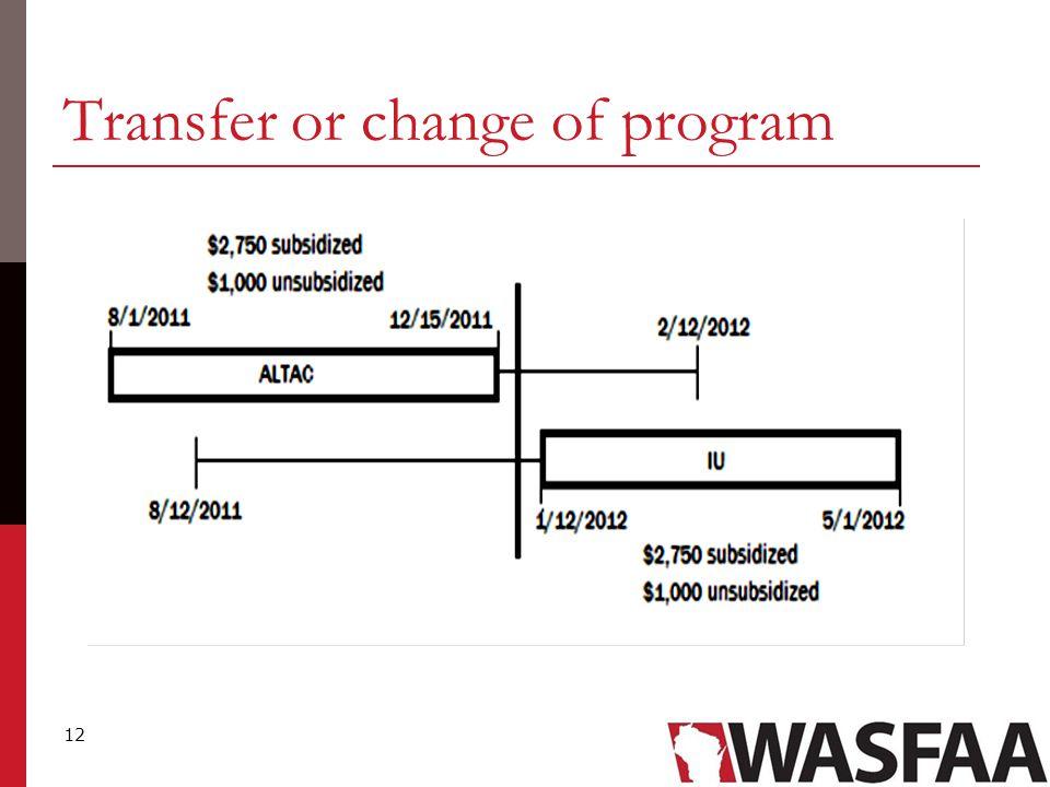 12 Transfer or change of program