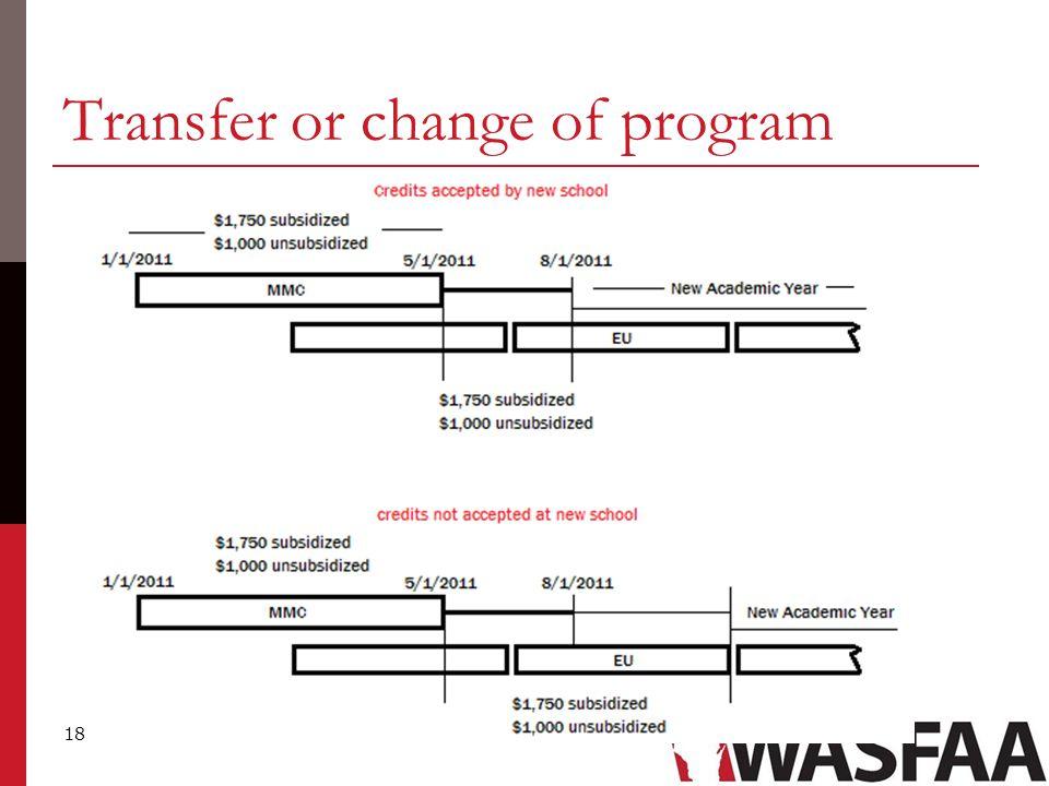 18 Transfer or change of program
