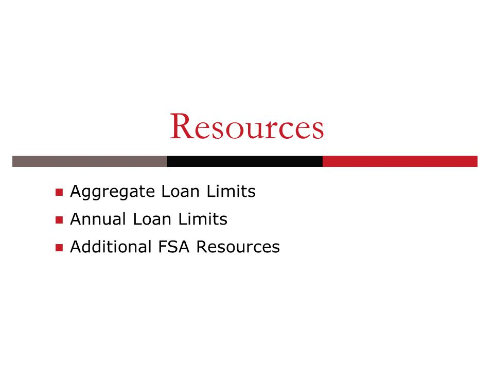 Resources Aggregate Loan Limits Annual Loan Limits Additional FSA Resources