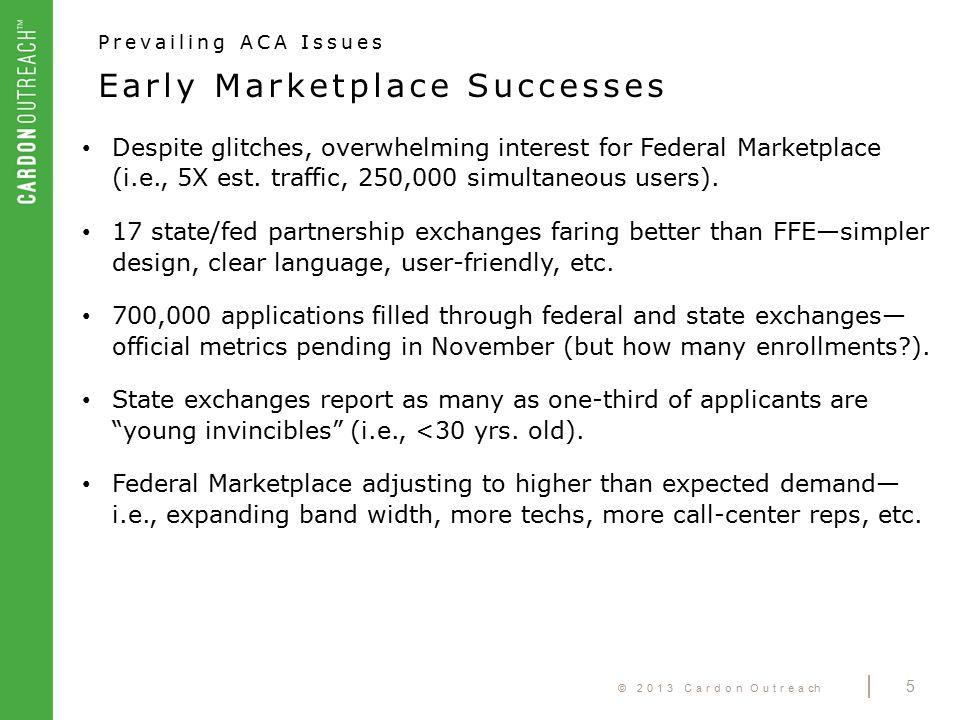 © 2013 Cardon Outreach | 5 Despite glitches, overwhelming interest for Federal Marketplace (i.e., 5X est.