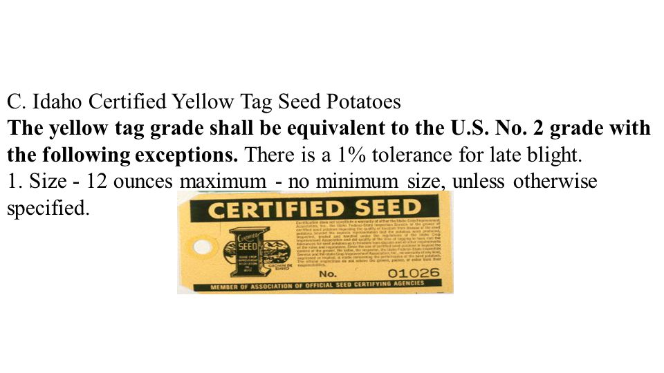 C. Idaho Certified Yellow Tag Seed Potatoes The yellow tag grade shall be equivalent to the U.S. No. 2 grade with the following exceptions. There is a