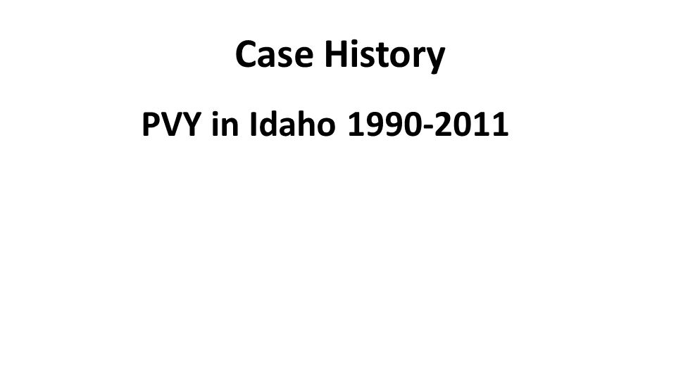 Case History PVY in Idaho 1990-2011