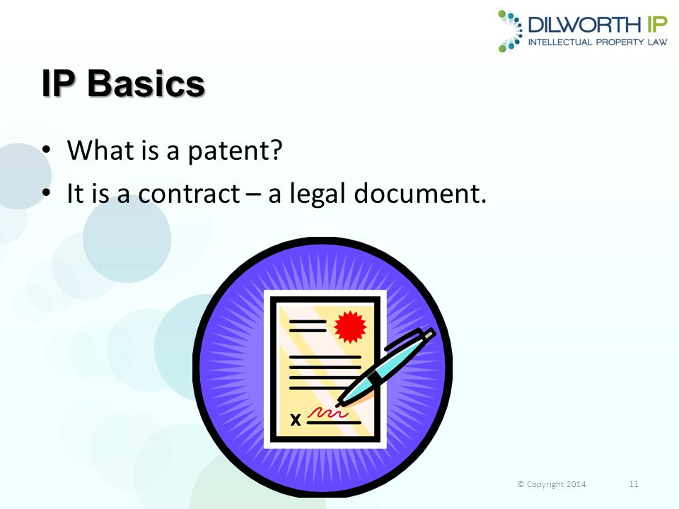 IP Basics What is a patent? It is a contract – a legal document. © Copyright 2014 11