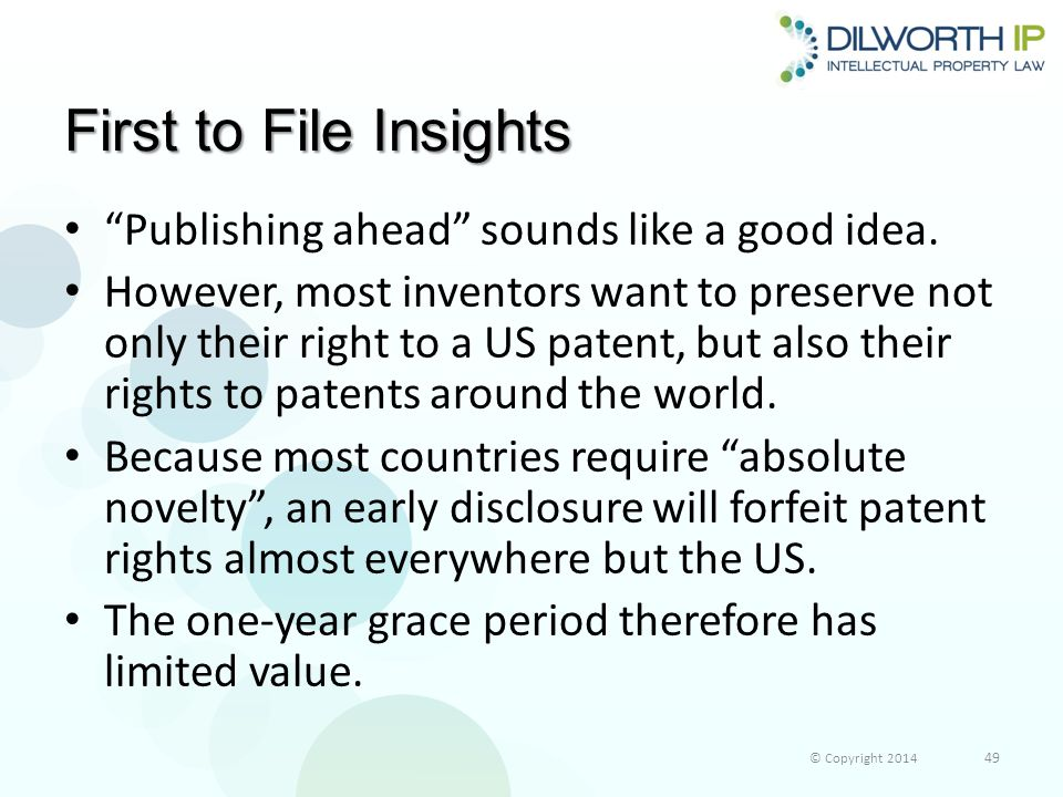 First to File Insights Publishing ahead sounds like a good idea.