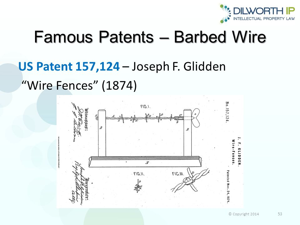 Famous Patents – Barbed Wire US Patent 157,124 – Joseph F.