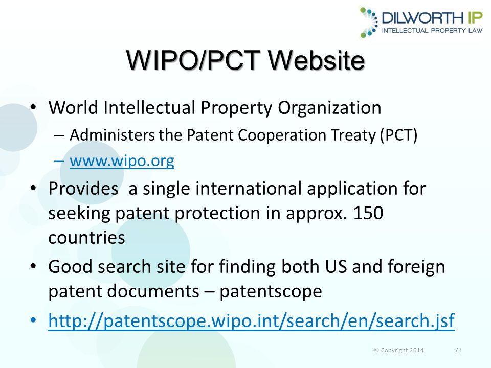 WIPO/PCT Website World Intellectual Property Organization – Administers the Patent Cooperation Treaty (PCT) – www.wipo.org Provides a single international application for seeking patent protection in approx.