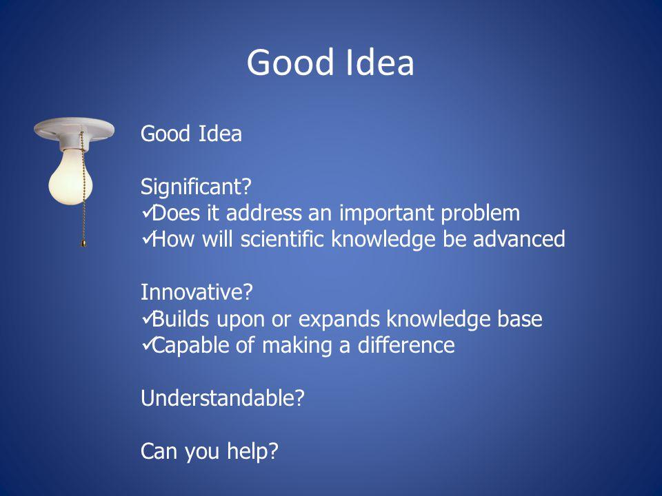 Good Idea Significant.