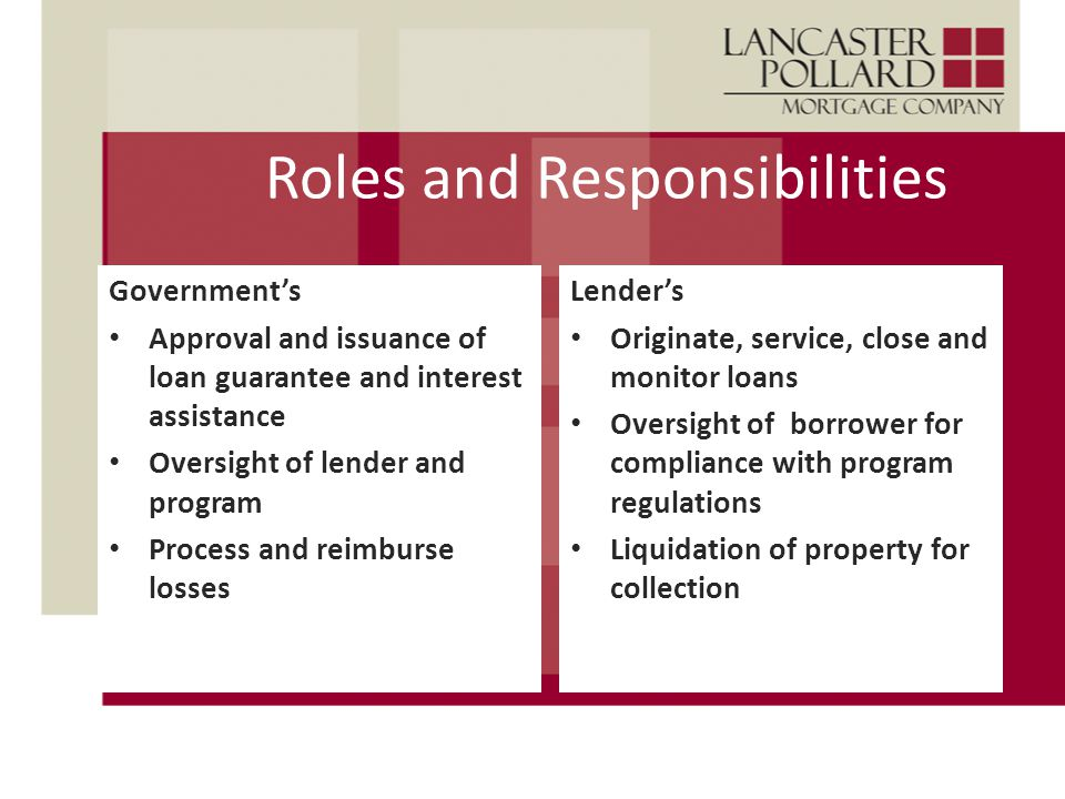 Roles and Responsibilities Government's Approval and issuance of loan guarantee and interest assistance Oversight of lender and program Process and reimburse losses Lender's Originate, service, close and monitor loans Oversight of borrower for compliance with program regulations Liquidation of property for collection