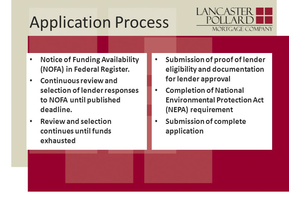 Application Process Notice of Funding Availability (NOFA) in Federal Register.