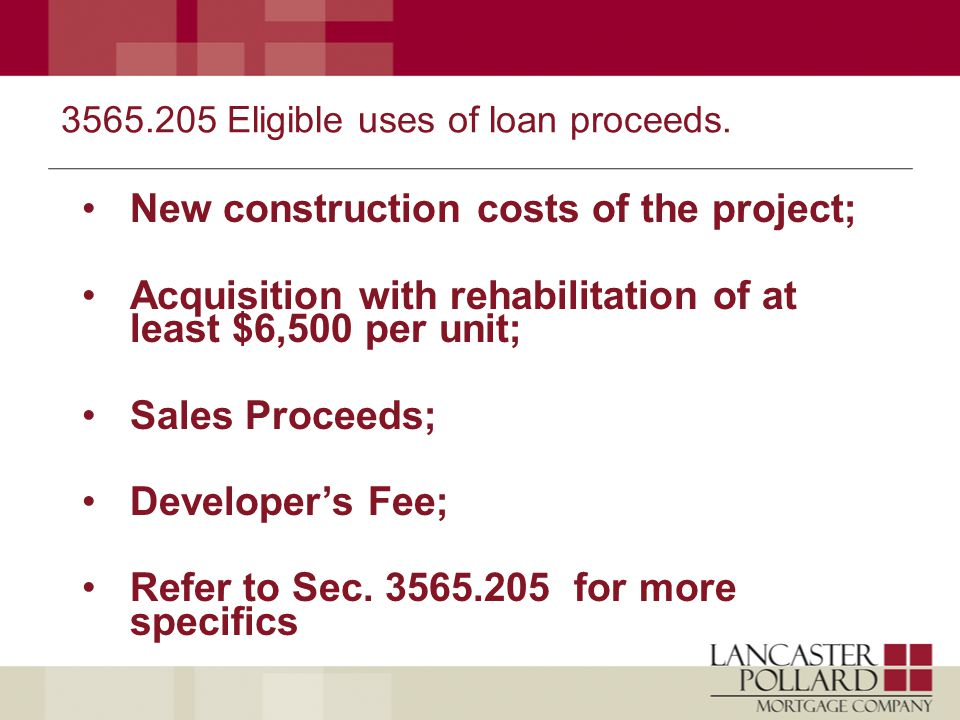 3565.205 Eligible uses of loan proceeds.