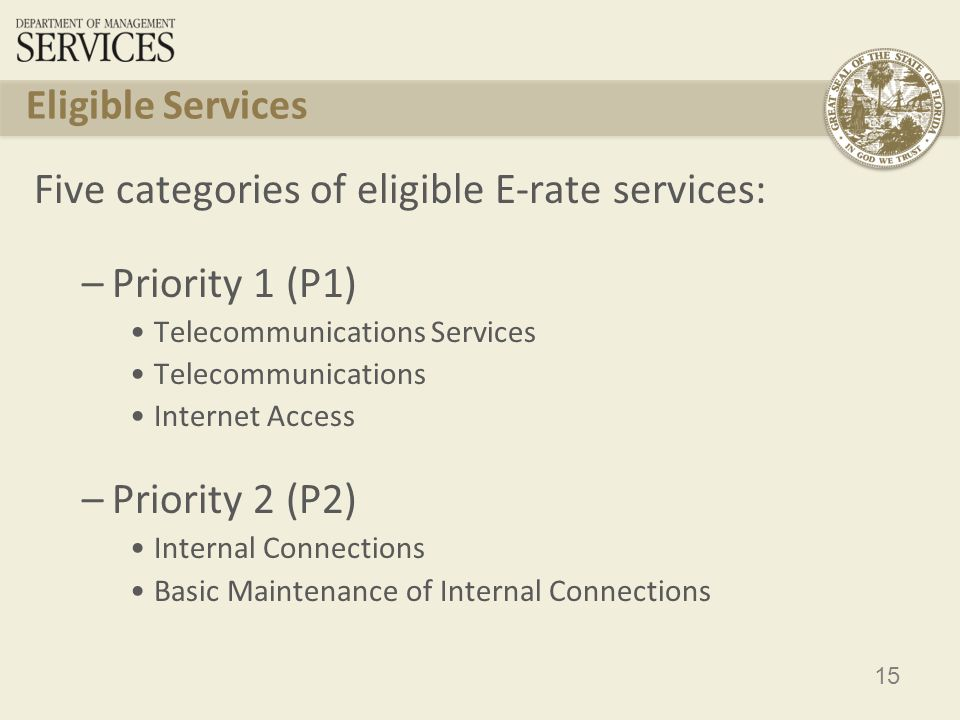 15 Eligible Services Five categories of eligible E-rate services: –Priority 1 (P1) Telecommunications Services Telecommunications Internet Access –Priority 2 (P2) Internal Connections Basic Maintenance of Internal Connections
