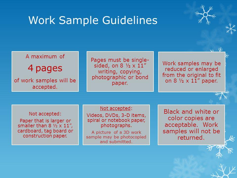 Work Sample Guidelines