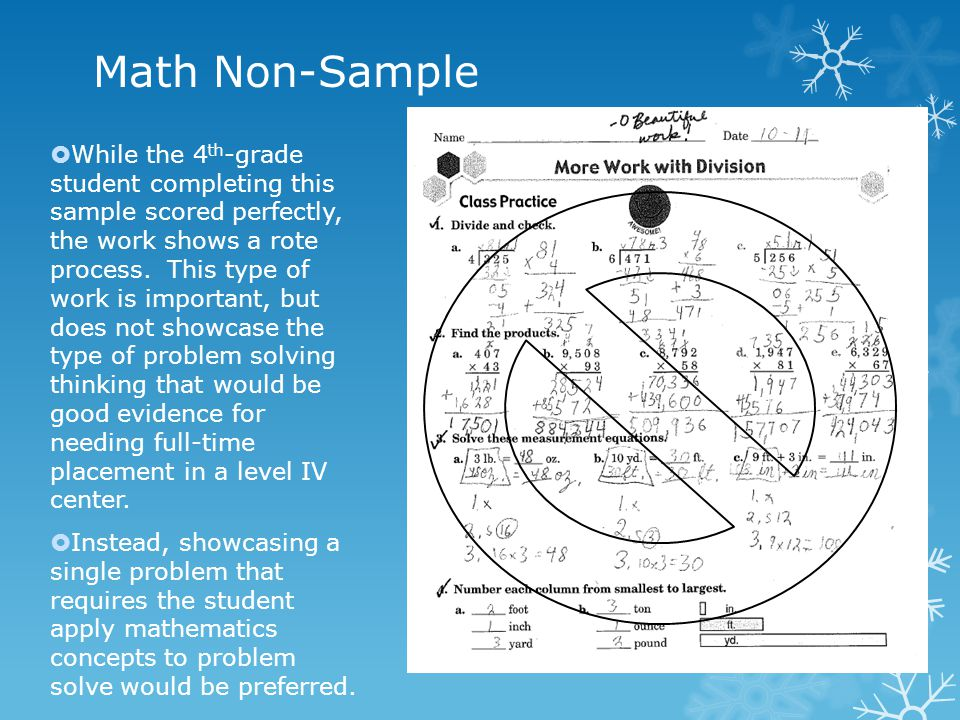 Math Non-Sample  While the 4 th -grade student completing this sample scored perfectly, the work shows a rote process. This type of work is important