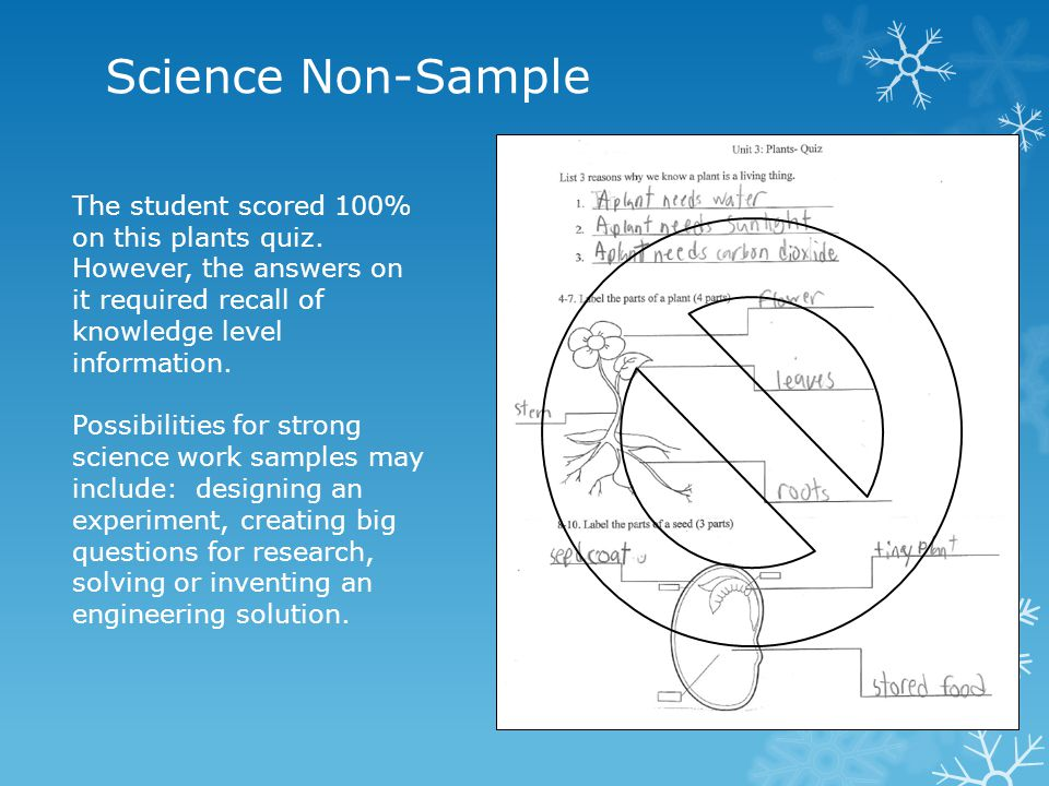 Science Non-Sample The student scored 100% on this plants quiz. However, the answers on it required recall of knowledge level information. Possibiliti