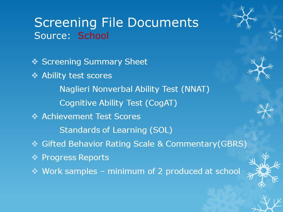 Screening File Documents Source: School  Screening Summary Sheet  Ability test scores Naglieri Nonverbal Ability Test (NNAT) Cognitive Ability Test