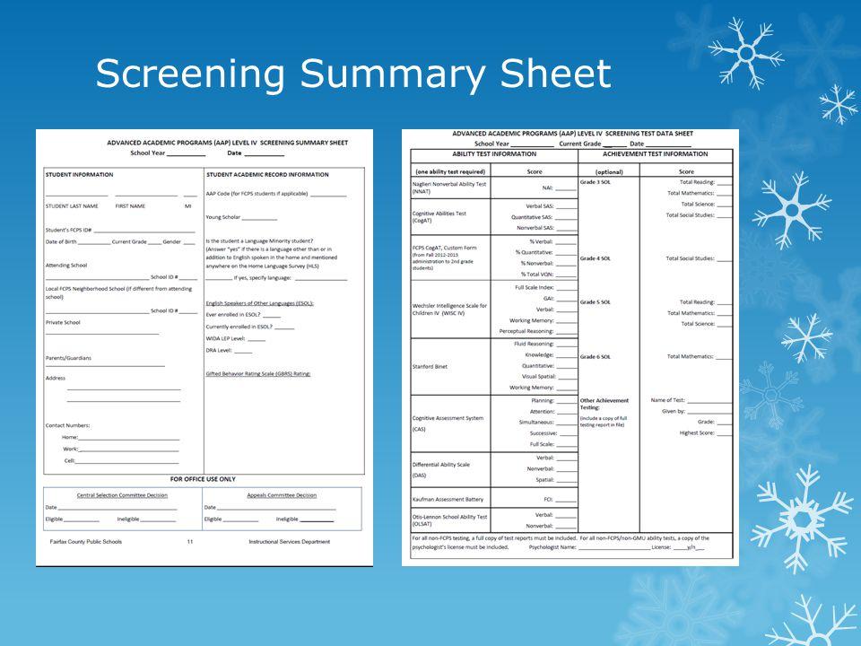 Screening Summary Sheet