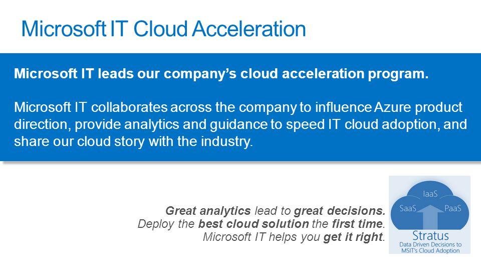 Microsoft IT leads our company's cloud acceleration program.