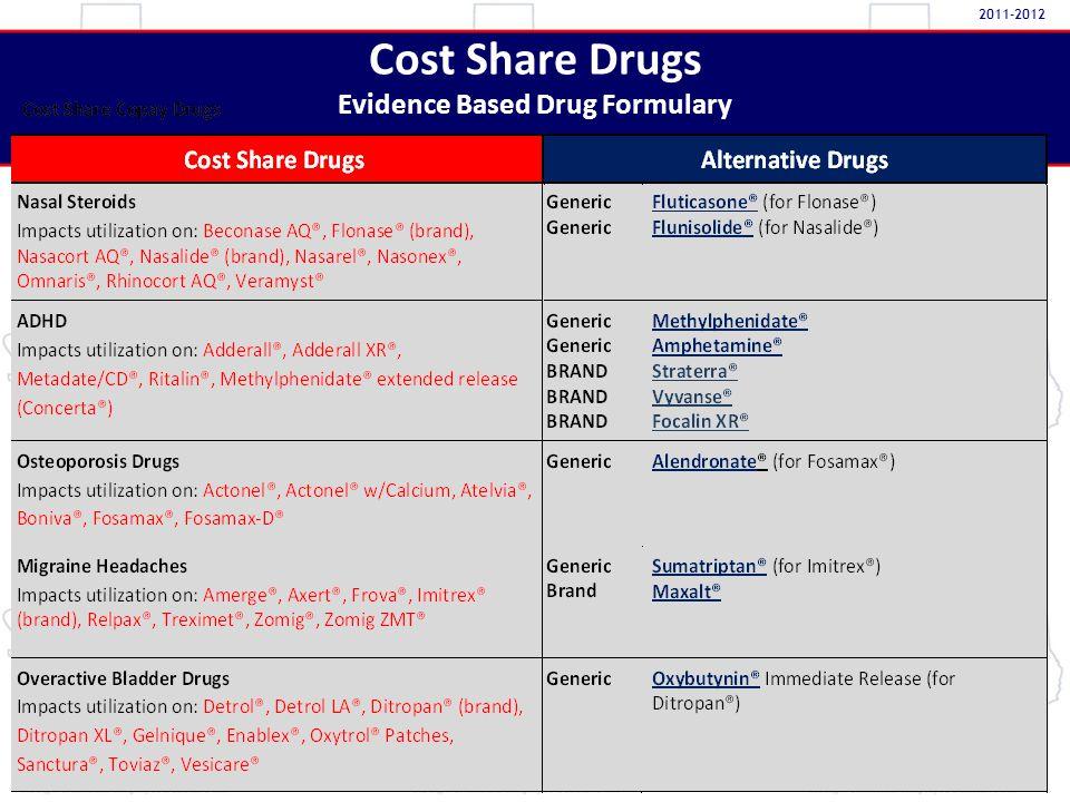 Cost Share Drugs Evidence Based Drug Formulary 2011-2012